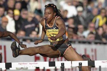 Gail Devers in action 2002 Exxon Mobil Bislett Games (Getty Images Allsport)