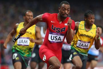 Tyson Gay of the United States competes next to Yohan Blake of Jamaica during the Men's 4 x 100m Relay Final on Day 15 of the London 2012 Olympic Games  on August 11, 2012  (Getty Images)