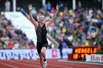 Sam Kendricks after winning the pole vault at the FBK Games in Hengelo (Eric Roeske)