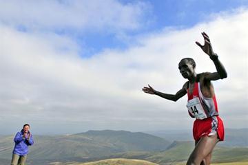 Kenya's Wilson Chemweno at the 1st Commonwealth Mountain and Ultra Distance Running Championships (Steve Razzetti)