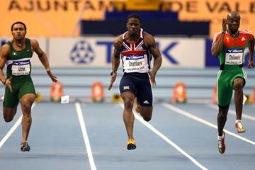 Dwain Chambers beats Uche Isaac and Francis Obikwelu in the 60m semi-final (Getty Images)
