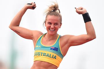 Liz Parnova celebrates her pole vault win at the Oceania Championships in Townsville (Getty Images)