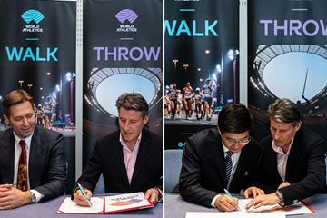 World Athletics President Sebastian Coe with Serbian Athletics Federation President Veselin Jevrosimovic (left) and Yangzhou Vice Mayor Yu Ting (right) (Philippe Fitte)