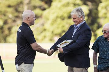 Arthur Lydiard (NZL) - World Athletics Heritage Plaque ceremony, Auckland, New Zealand, Sunday 23 Feb 2020: Cameron Taylor greets Geoff Gardner (Alisha Lovrich Photography)