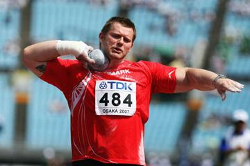 Joachim Olsen of Denmark in the Shot Put (Getty Images)