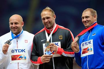 Mens Discus Throw Medal Ceremony at the IAAFWorld Championships Moscow 2013 (Getty Images)