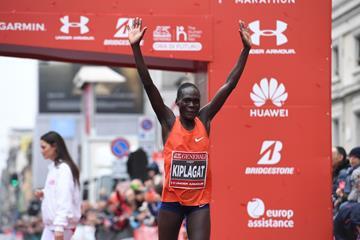 Vivian Kiplagat Jerono winning the Milan Marathon (Organisers)