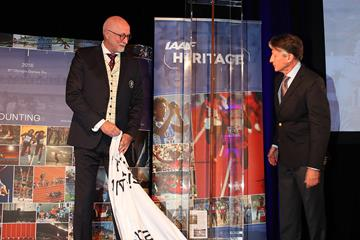 Rajne Soderberg (SCIF) with Sebastian Coe unveils Eric Lemming's javelin which won the 1912 Olympic Games title in Stockholm. The javelin was donated by SCIF. (IAAF)