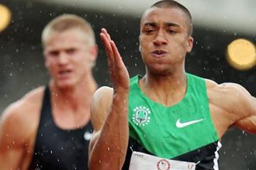 Ashton Eaton in the 100m in the Decathlon at the 2012 US Olympic Trials (Getty Images)