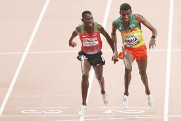 What a finish! Kenya's Conseslus Kipruto takes the world title on 0.01 at the IAAF World Championships Doha 2019 (Getty Images)