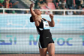 Discus winner Yaime Perez at the IAAF Diamond League meeting in Rabat (Kirby Lee)