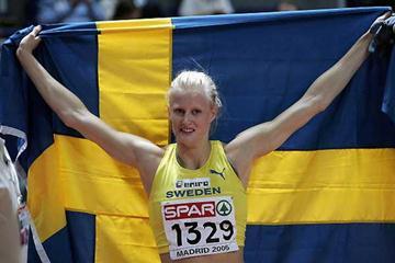 Carolina Klüft jubliant after winning the Pentathlon gold in Madrid (Getty Images)