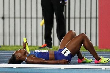 Tianna Bartoletta after falling to the track in the women's 4x100m at the IAAF/BTC World Relays Bahamas 2017  (Getty Images)