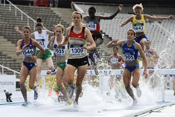 General view of  the Women's 3000 metre Steepechase qualification heat on the day one of the 14th IAAF World Junior Championships in Barcelona (Getty Images)