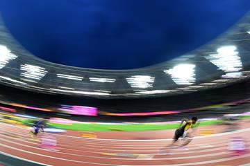 Athletes in action at the 400m hurdles at the IAAF World Championships (Getty Images)