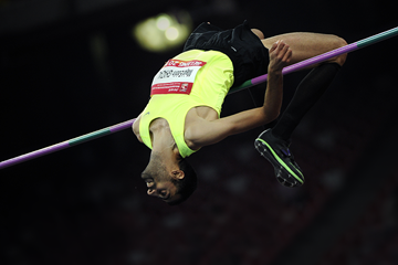 Majd Eddin Ghazal in the high jump at the IAAF World Challenge meeting in Beijing (AFP / Getty Images)