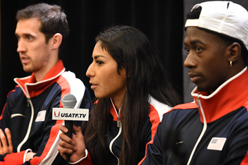 Ryan Hill, Brenda Martinez and Marquis Dendy at the US team's press conference ahead of the IAAF World Indoor Championships Portland 2016 (AFP / Getty Images)