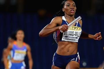 Novlene Williams-Mills anchors Americas to victory in the 4x400m at the IAAF Continental Cup, Marrakech 2014 (Getty Images)