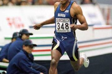 Frank Fredericks winning 200m in Maebashi (© Allsport)