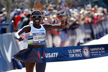 Aliphine Tuliamuk takes the US Olympic Trials Marathon title in Atlanta (Getty Images)