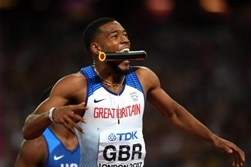 Nethaneel Mitchell-Blake after the 4x100m relay at the IAAF World Championships London 2017 (Getty Images)
