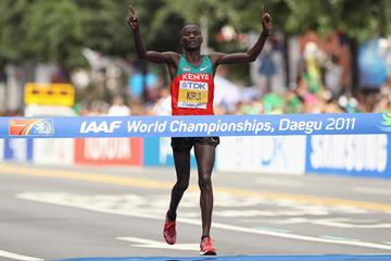 Abel Kirui of Kenya wins the Marathon World Championships gold medal in Daegu (Getty Images)