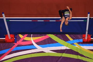 Kevin Mayer in the heptathlon high jump at the IAAF World Indoor Championships Birmingham 2018 (Getty Images)