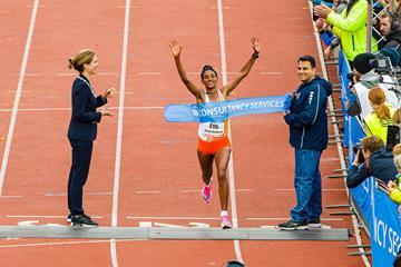 Degitu Azmeraw wins the Amsterdam Marathon (Organisers)