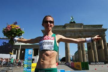 Olive Loughnane of Ireland celebrates winning the silver medal in the women's 20km Race Walk (Getty Images)