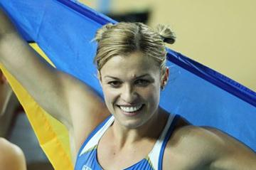 Overall gold medalist Natallia Dobrynska of Ukraine celebrates after the Women's 800 Metres in the Pentathlon during day one - WIC Istanbul  (Getty Images)