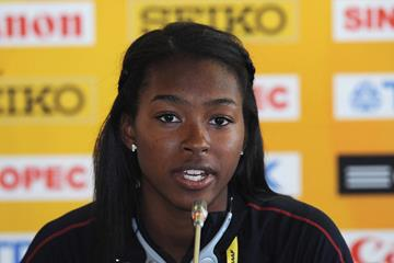 US sprinter Ariana Washington at the 2013 World Youth Championships press conference (Getty Images)