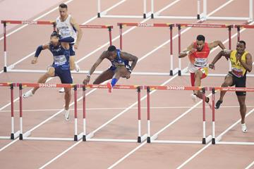 Grant Holloway wins the 110m hurdles at the IAAF World Athletics Championships Doha 2019 (Getty Images)