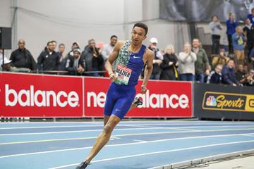Donavan Brazier on his way to winning the 600m at the World Athletics Indoor Tour meeting in Boston (Victah Sailer)