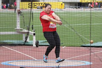 China's Wang Zheng at the IAAF Hammer Throw Challenge meeting in Osaka (JAAF)