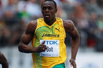 World Record holder Usain Bolt cruises through his heat of the 100m (Getty Images)