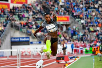 Triple jump winner Caterine Ibarguen at the IAAF Diamond League meeting in Oslo (Deca Text & Bild)
