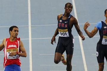 Luguelin Santos of Dominican Republic wins the Men's 400 metres Final, Arman Hall of USA (bib 917) is second and  on the day three of the 14th IAAF World Junior Championships in Barcelona on 12 July 2102 (Getty Images)