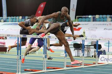Grant Holloway wins the 60m hurdles at the World Athletics Indoor Tour Gold meeting in Lievin (Jean-Pierre Durand)