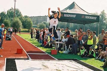 Sarka Kasparkova in her very last triple jump contest in Havirov, Czech Republic (OSSO)