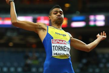 Michel Torneus on his way to long jump gold at the European Indoor Championships (Getty Images)