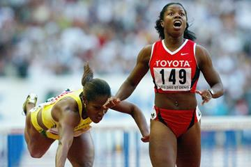 Perdita Felicien winning the 2003 world 100m hurdles title (Getty Images)