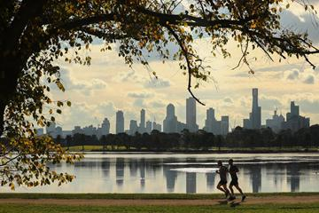 Runners jog around Albert Park Lake in Melbourne (Getty Images)