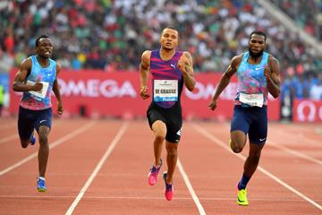 Andre de Grasse taking the Rabat 200m (Jiro Mochizuki)