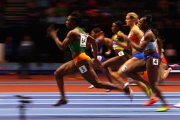 Murielle Ahoure in the 60m the IAAF World Indoor Championships Birmingham 2018 (Getty Images)