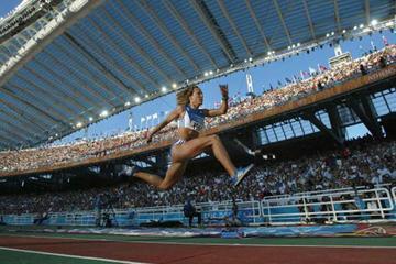 Hrysopoyi Devetzi of Greece wins silver in the women's Triple Jump (Getty Images)