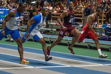 Jeff Demps (near left) wins the 60m dash at the 2012 NCAA Indoors (Getty Images)