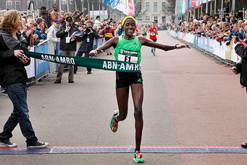 Flomena Chepchirchir after her commanding victory at the City-Pier-City Half Marathon in The Hague (Organisers)