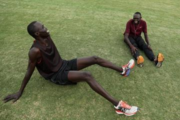 Wiyual Puok Deng (L) and Paulo Amotun Lokoro of the Athlete Refugee Team practice prior to the IAAF / BTC World Relays Bahamas 2017 (Getty Images)