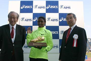 President Emeritus of AIMS Hiroaki Chosa, Tiki Gelana and Vice President of the Japanese Athletics Federation Dr Keisuke Sawaki (AIMS)