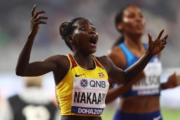 Halimah Nakaayi takes the world 800m title in Doha (Getty Images)